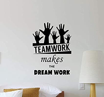 Atopdecals Office Wall Decal Teamwork Makes The Dream Work Quote  Inspirational Lettering Office Vinyl Sticker Motivational