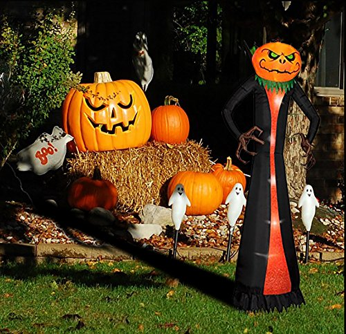 8 Foot Halloween Inflatable Decoration Airblown Pumpkin Head Reaper with LEDs for Home Yard Garden Indoor and Outdoor Decor