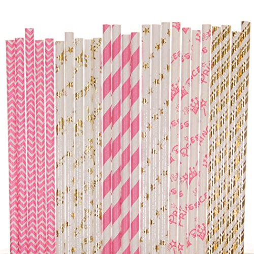 Princess Paper Straw Mix - Gold Foil, Hot Pink, White - Striped, Chevron, Star, Crown (25) ()