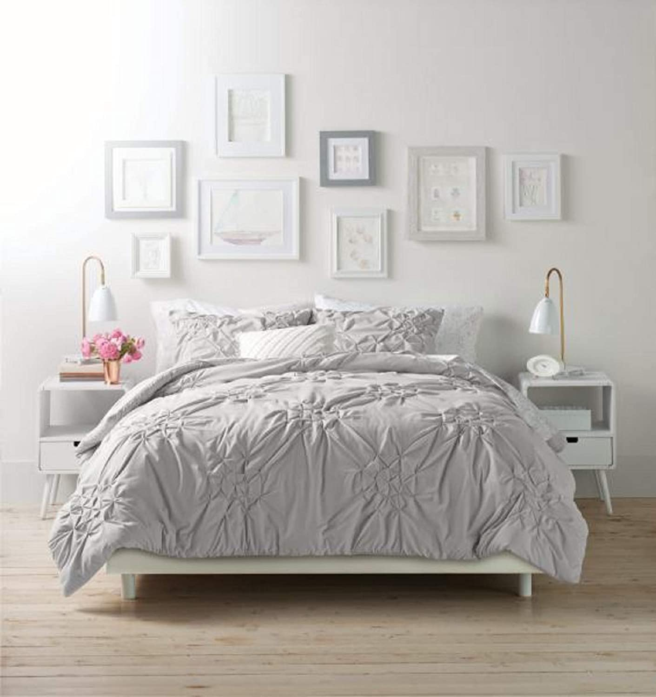 VCNY Home Origami Pintuck 3 Piece Bedding Comforter Set, King, Grey