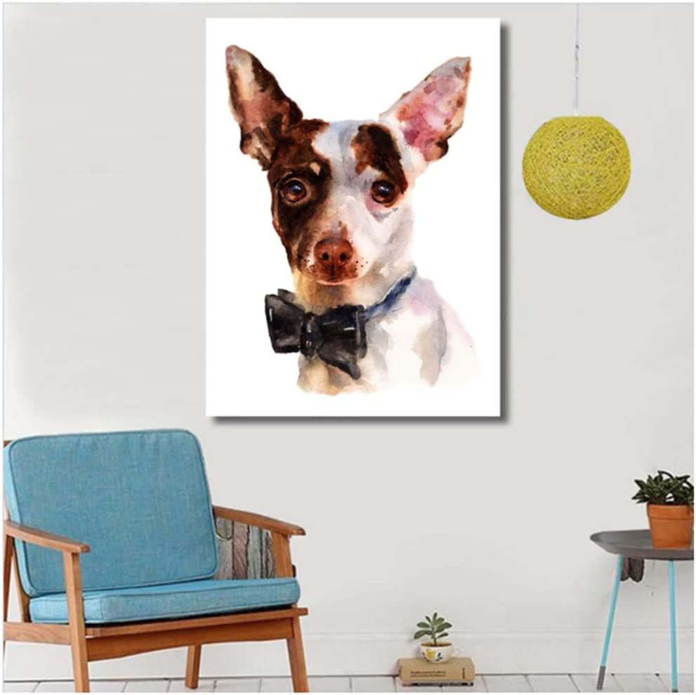 HYFBH Obra de Arte Pintura Chihuahua Perro Animal Pintura al óleo sobre Lienzo Cuadros de Pared para Sala de Estar Cartel e impresión Decoración de pared-60x80cm con Marco