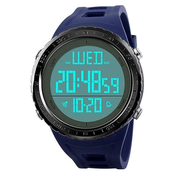 Reloj Led Digital Natación Hombre Fashion Casual Acuático Golpes Deportivo de Pulsera Morado con Cronómetro,Cuenta atrás,Doble Husos Horarios: Amazon.es: ...