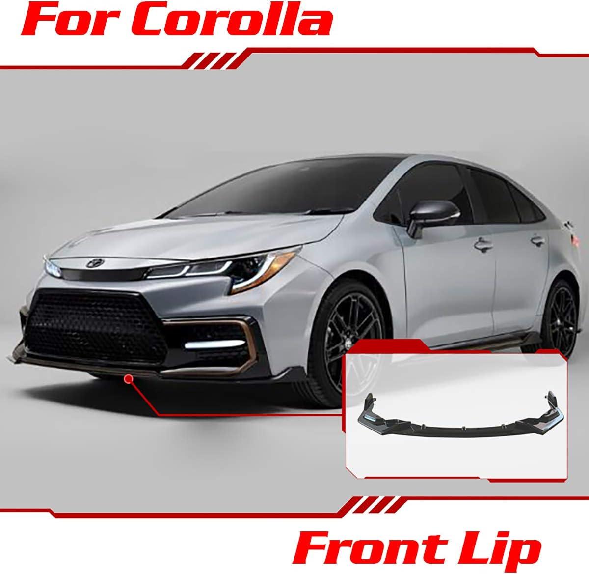 For Toyota Corolla SE XSE 2020-21 Glossy Black Front Bumper Lip Body Spoiler 3PCS