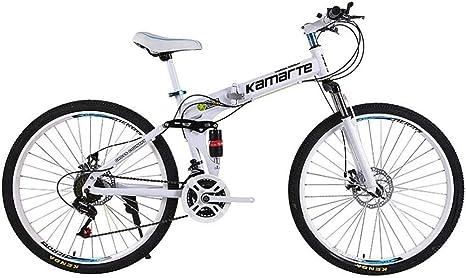 NANA318 Bicicleta de montaña Plegable de 24 Pulgadas para Adultos y Adolescentes: Bicicleta de MTB Plegable de 21 Pulgadas y 24 Pulgadas con suspensión Completa-Blanco: Amazon.es: Deportes y aire libre