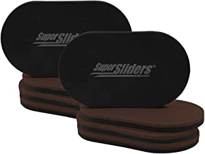 "SuperSliders 4727595N Reusable XL Heavy Furniture Movers for Hardwood Floors- Felt Floor Protectors, 9-1/2"" x 5-3/4"" Brown (8 Pack)"