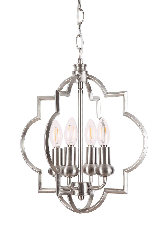 Homenovo Lighting Mersey 4-Light Chandelier, Modern Style Lighting for Entryway, Hallway, Dining Room and Living Room - Brushed Nickel Finish