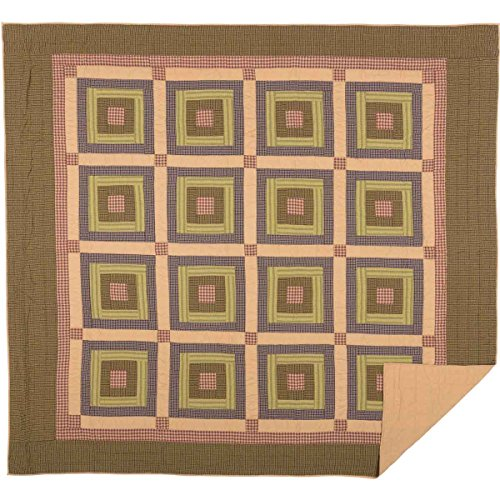 VHC Brands Rustic & Lodge Bedding - Tea Cabin Block Quilt, King, Green