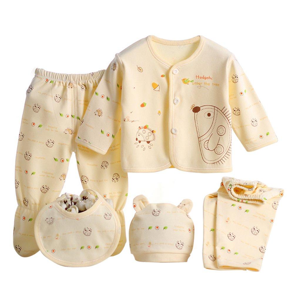 MIOIM® El Equipo Recién Nacido de Los Pantalones del Sombrero de Las Tapas del Algodón de Las Muchachas de Los Muchachos del Bebé 0-3M Fija 5PCS