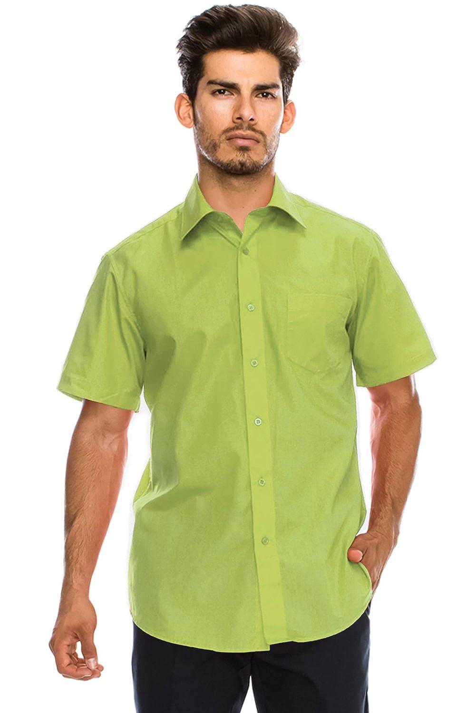Jc Distro Mens Regular Fit Solid Color Short Sleeve Dress Shirts