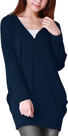 Allegra K-Camiseta de Manga Larga para Mujer Cuello de Pico ...