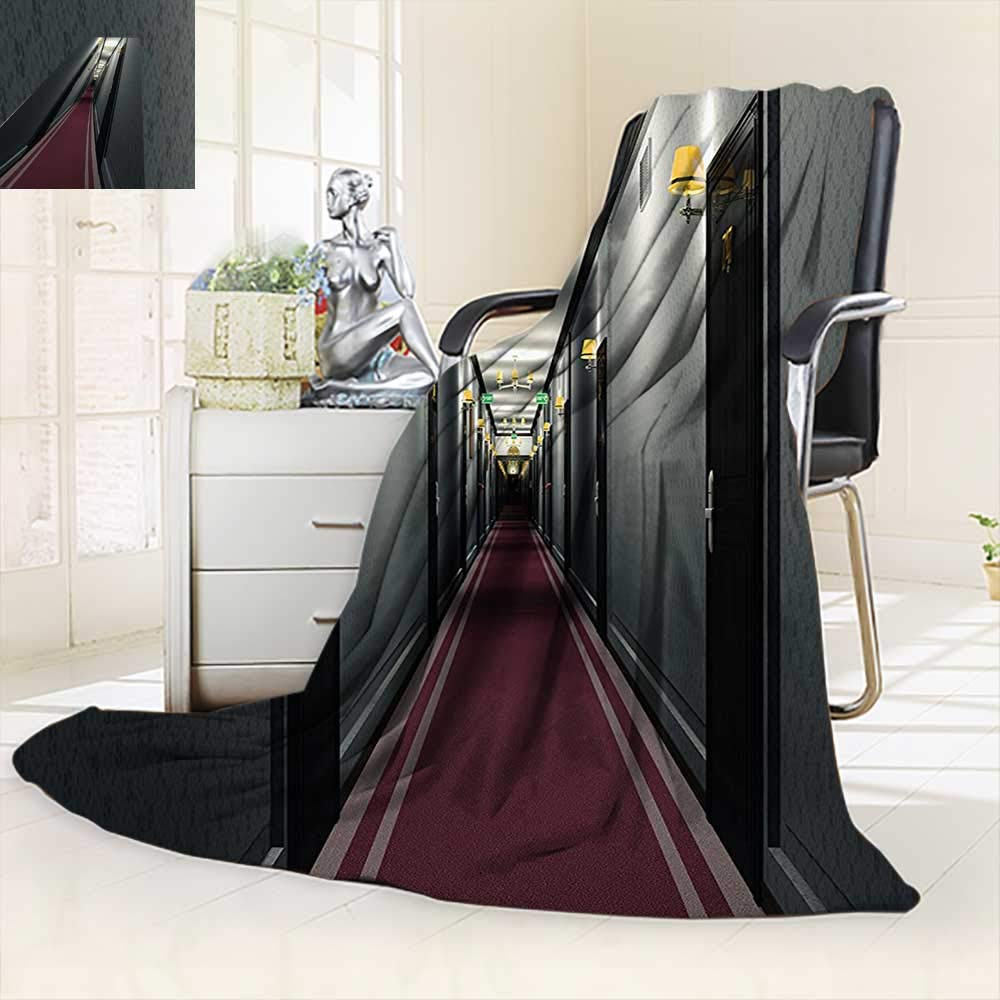 vanfan Warm Microfiber All Season Blanket Fancy Hotel Corridor Building Inside Classic French Interior Decor Design Picture Art Grey,Silky Soft,Anti-Static,2 Ply Thick Blanket. (80''x60'')
