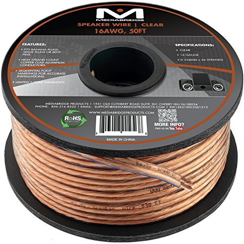 Mediabridge 16AWG 2-Conductor Speaker Wire (50 Feet, Clear) - Spooled Design with Sequential Foot Markings (Part# SW-16X2-50-CL )