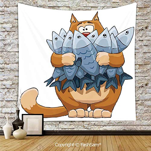 Tapestry Wall Blanket Wall Decor Fat Cat Holding Bunch of Dead Fish Hungry Starving But Not Enough Cartoon Print Home Decorations for Bedroom(W51xL59) -