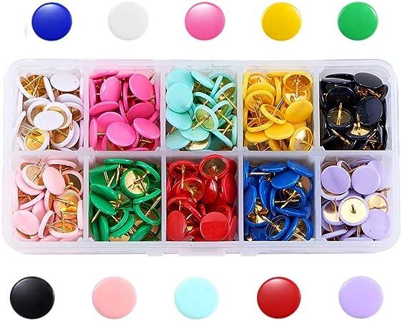 Febbya Chinchetas,300 Pack Push Pins Metal Chinchetas de Mapa con Cabezas Redondas y Agujas de Acero para Corcho Tablero Foto Memorándum 10x10mm INOX 10 Colors: Amazon.es: Hogar