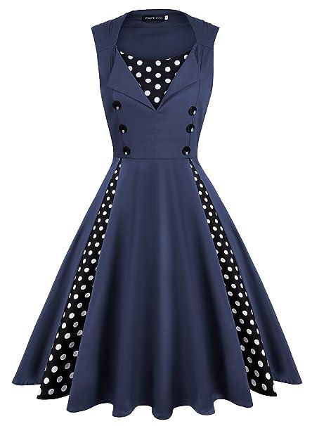 023674fbdc64 KeZheXi Women's Polka Dot Retro Sleeveless Vintage 1950s Rockabilly Evening Party  Cocktail Swing Dress (Dark