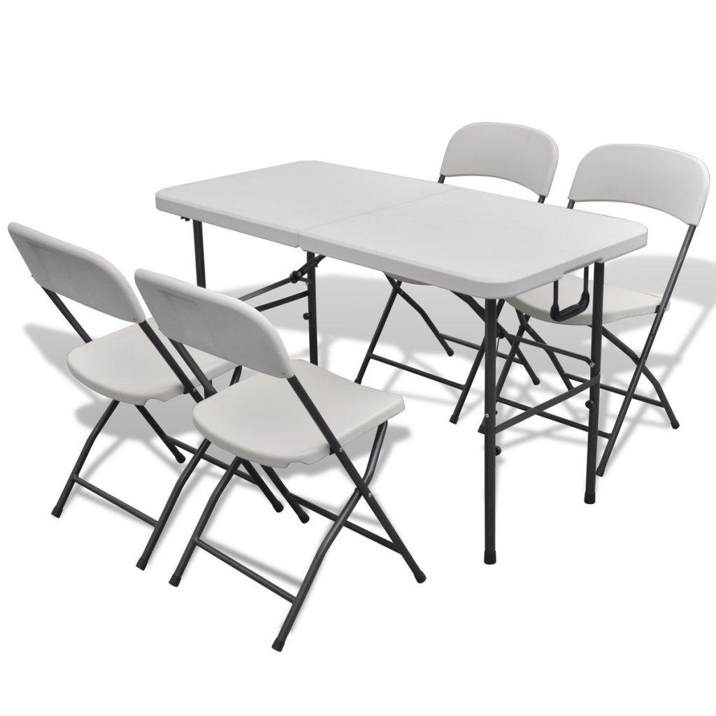 Festnight Sitzgruppe Sitzgarnitur Gartenmöbel aus HDPE Tisch 122 x ...