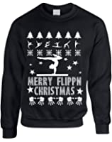 Allntrends Adult Sweatshirt Merry Flippn Christmas Gymnastics Ugly Xmas