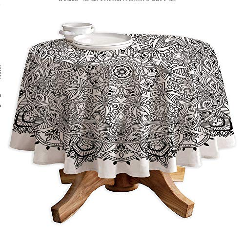 Mandala Round Polyester Tablecloth,Lace Like Macro Round Tribal Motif with Mix Paisley Leaf Elements Kitsch Image Decorative,Dining Room Kitchen Round Table Cover,36