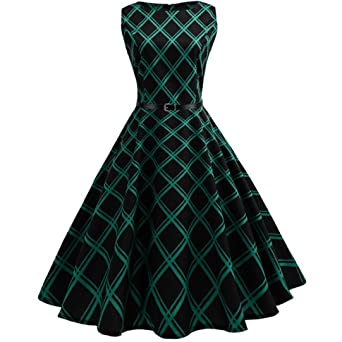 BakeLIN Kleid 50er Jahre Rockabilly Damen Vintage Blumendruck Plaid Bodycon Ärmellos Casual Abend Prom Swing Kleid Röcke Pett