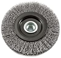 Forney 72837 Wire Wheel Brush, Industrial Pro Crimped with 5/8-Inch 11 and M14-by-2.0 Multi Arbor, 4-1/2-Inch-by-.012-Inch
