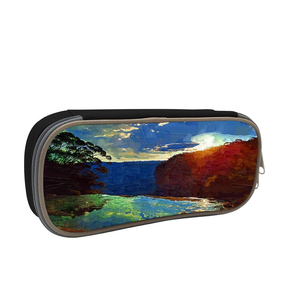 Painting The Scenery Large Capacity Multi-Layer Pencil Case Back To School Choice Black