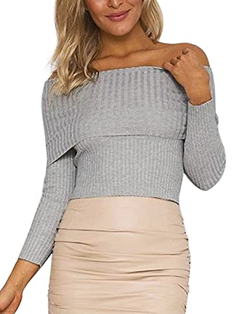 d8bef12c8cf ISASSY Womens Off Shoulder Long Sleeve Knitted Jumper Ribbed Bardot Fitted  Top Sweater Grey L(UK12)/(EU40): Amazon.co.uk: Clothing