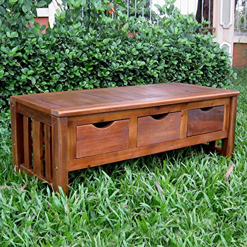 Outdoor Backless Bench with Storage Made of Acacia Wood in Brown Color (Bench Acacia Wood)