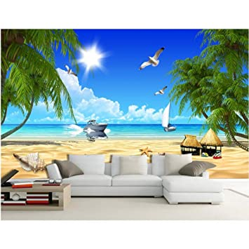 msyiku silk 3d room wallpaper custom mural photo the coconut trees3d room wallpaper custom mural photo the coconut trees ship starfish painting picture 3d wall murals wallpaper for walls 3d,500cm*320cm amazon co uk