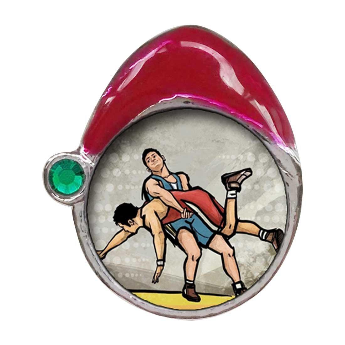 Olympics Wrestling Emerald Green Crystal May Birthstone Red Santa Hat Charm Bracelets