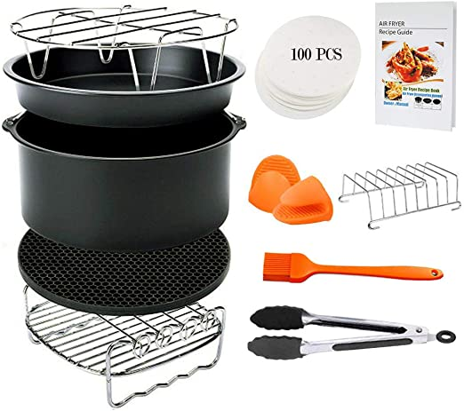 FDA Approved BPA Free,Cookbook Included Blusmart 11 pcs Deep Fryer Accessories Set for GoWISE Phillips COSORI Ninja Air Fryer 4.2 QT 8 inch Air Fryer Accessories 5.8 QT