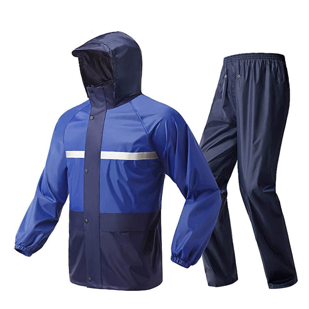 Waterproof Rain Jacket, Cycling Rain Suit Rain Jacket Raincoat Pants Rain Wear Motorcycle Raincoat Adult Single Riding Split Raincoat Suit Waterproof (Color : Blue, Size : XXL)