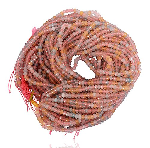 Ratnagarbha Morganite Color Quartz Faceted rondelle Loose Gemstone Beads Strand, 4 mm 14 inch 5 Strands, Pink Aquamarine, Jewelry Making, Wholesale Price, Prepared Exclusively by Ratnagarbha.