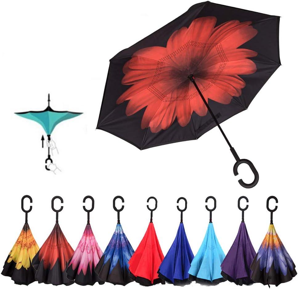 Parapluie invers/é pour Voiture Lilo Stitch parapluies pliants invers/és de Protection UV Parapluie invers/é Pliant Double Coupe-Vent et imperm/éable