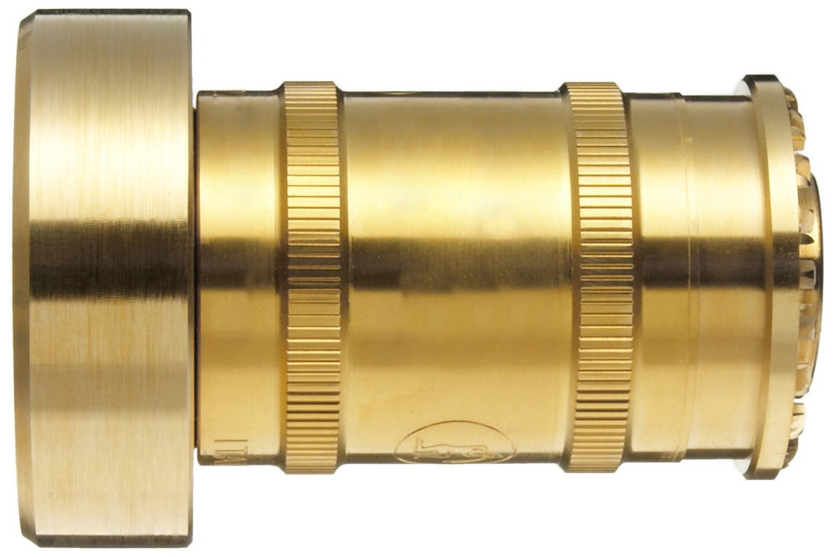 Moon BRN151NST Brass Fire Hose Nozzle, Twist On/Off, 60 gpm, 1-1/2'' NST by Moon (Image #1)