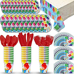 Party Supply Pack for 24 - 2 Size plates, Cups, Napkins , Cutlery (Spoons, Forks, Knives), and tablecovers.