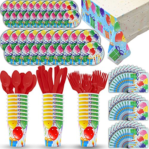 Birthday Party Paper Plates - Disposable Paper Dinnerware for 24 - Balloons Theme - 2 Size plates, Cups, Napkins , Cutlery (Spoons, Forks, Knives), and tablecovers - Full Party Supply Pack - Perfect for Birthday Parties