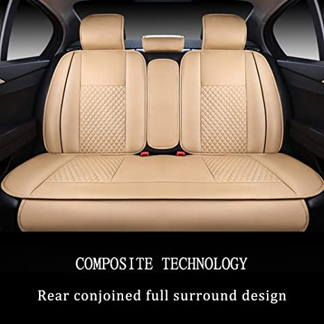 Airbag Compatible Front and Rear Seats Covers Coffee Durable Comfort Leatherette Seat Cushions for Volvo V50 V60 V70 V90 5 Car Seat Covers Luxury with headrest and waistrest