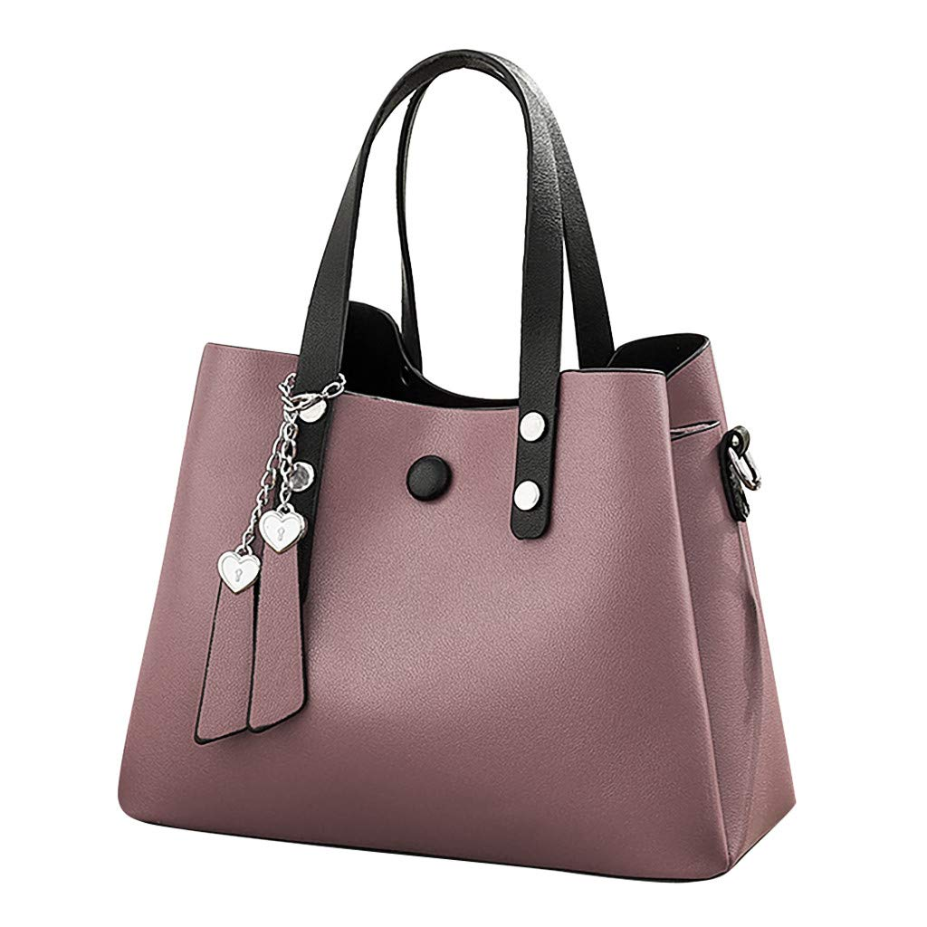 Women's Fashion Leather Shoulder Messenger Crossbody Bags Clutch Totes (Purple)