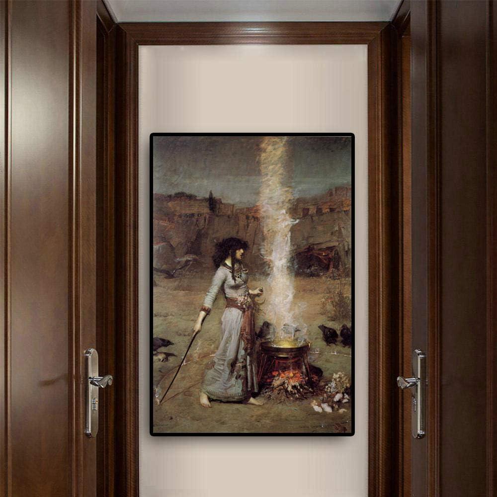 Vintage Pared Arte Mujer Retrato Lienzo Pintura Magia Círculo Escandinavo Poster y Impresiones para Salon Habitación Hogar Cuadro Pared Decoracion 50x70cm No Marco