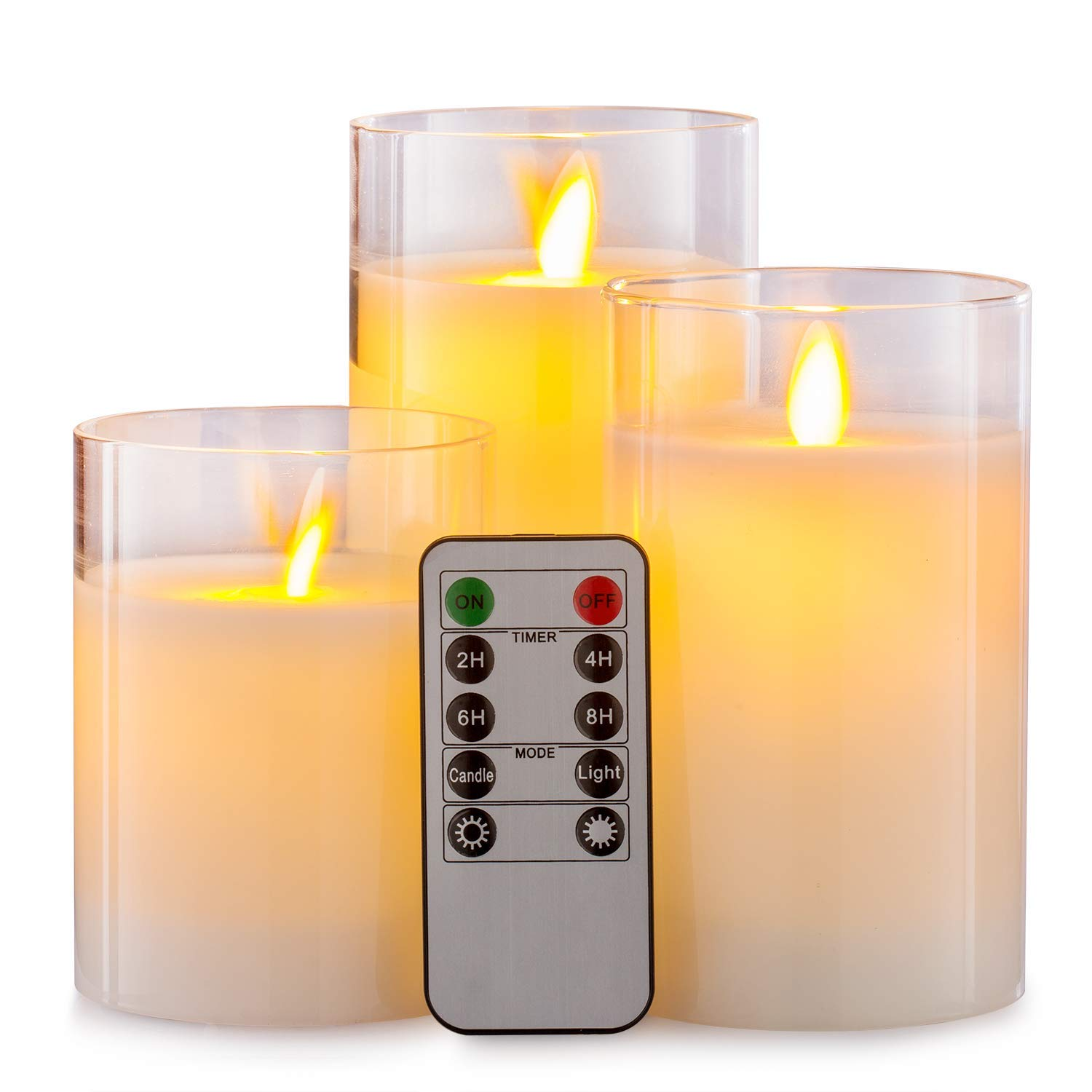 Aku Tonpa Flameless Candles Battery Operated Pillar Real Wax Flickering Moving Wick LED Glass Candle Sets with Remote Control Cycling 24 Hours Timer, 4'' 5'' 6'' Pack of 3