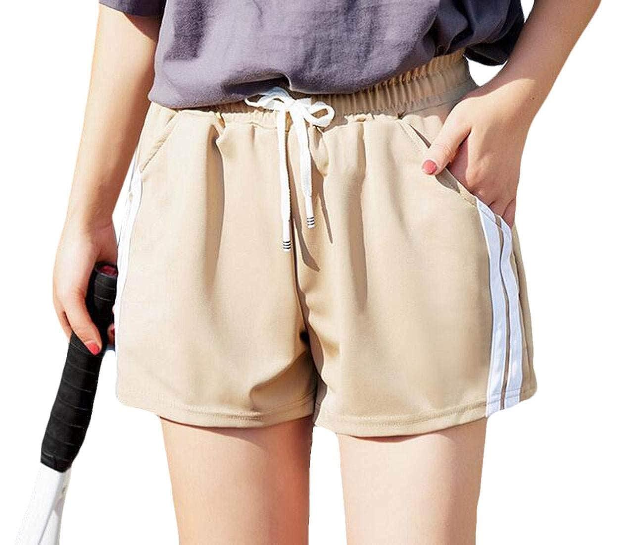 SELX Women Elastic Waist Striped Side Sport Loose Fitness Workout Shorts