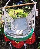 Beautiful hammock chair beige, red and yellow with crochet edge/ Indoor outdoor chair hammock/ Hanging chair swing/ Hanging chair/ Indoor chair/ Nicaraguan hammock For Sale