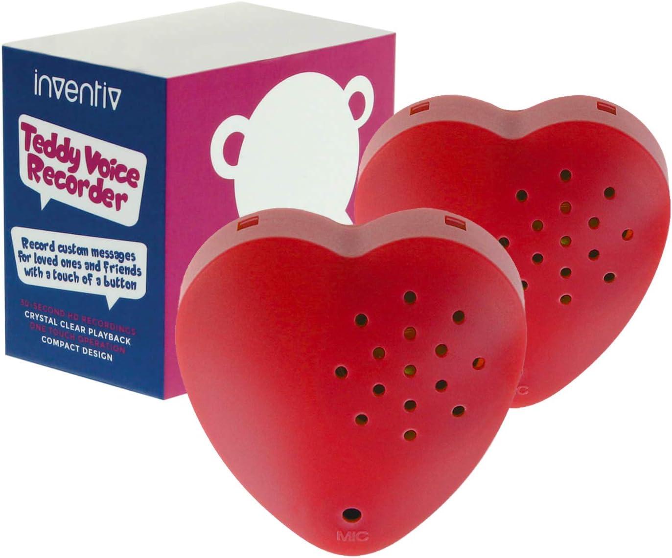 Inventiv - Módulo de grabadora de sonido de 30 segundos para juguete de peluche, diseño de oso de peluche de corazón grabable, grabación de mensajes personalizados (rojo)