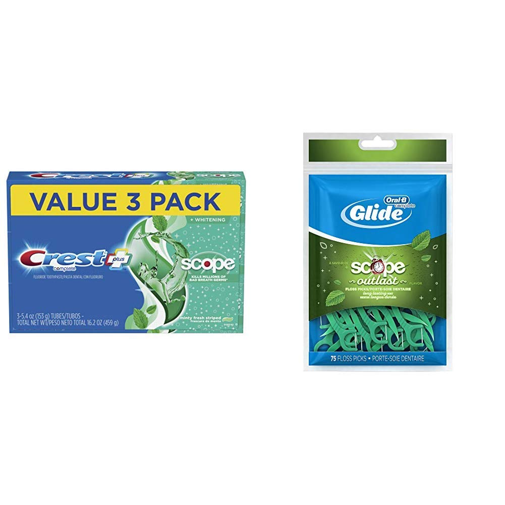 Crest Complete Whitening + Scope Toothpaste, Minty Fresh, 5.4 Ounce Triple Pack with Oral B Glide Floss Picks Plusx 40mm outlast - Long Lasting Mint - 75 Ct