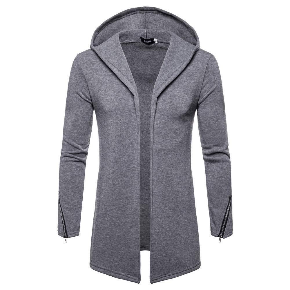 PASATO Sport Hooded Solid Zipper Trench Coat Jacket Cardigan Long Sleeve Outwear Blouse Men's Clothes Featured(Gray, 2XL)