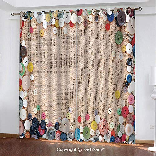 Best Home Fashion Blackout Curtains Buttons Collection Fabric Texture Canvas Frame Sewing Needlecraft Contemporary Picture Window Curtains for Living Room(108