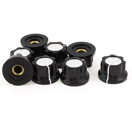 Plástico Control De Volumen Perillas De Potenciómetro Tapones 6mm Diámetro Del Eje 8 Unidades