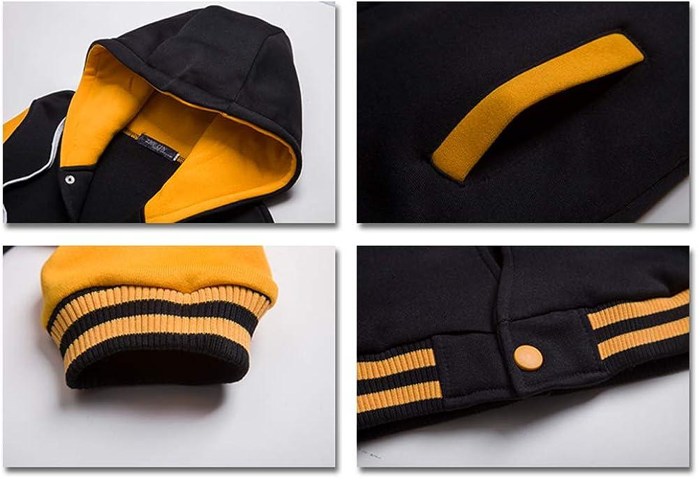 KINDOYO Mens Baseball Jacket Hooded Patchwork Varsity Sweatshirt Coat Hoodies