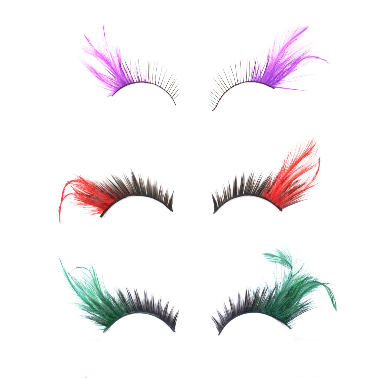 KLOUD City® 3 Pairs Different Deluxe Party Stage Feather False Eyelashes Eye Lashes