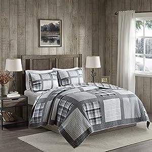 Huntington Reversible Oversized Cotton Quilt Mini Set Gray Full/Queen